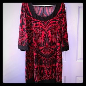 Red and Black Midi Dress Women's XL